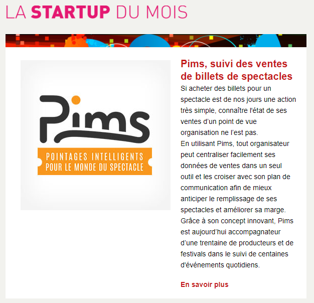 Capture d'écran de l'infolettre Audiens C Vous, édition d'avril 2018, rubrique La Startup du mois
